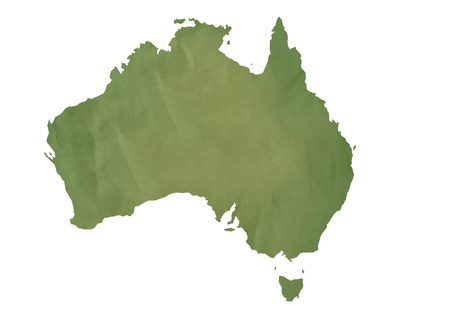 map of australia: Old green map of Australia in textured green paper, isolated on white background.