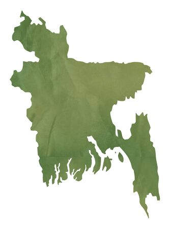 bangladesh: Old green map of Bangladesh in textured green paper, isolated on white background.