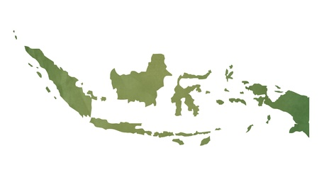 ageing: Old green map of Indonesia in textured green paper, isolated on white background.