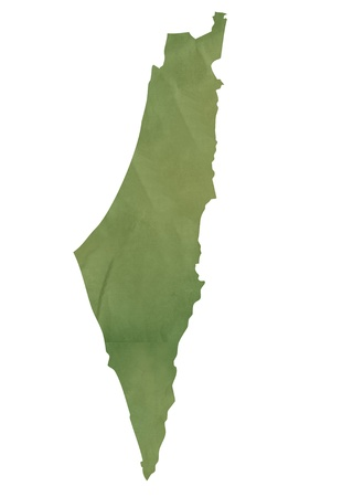 Old green map of Israel in textured green paper, isolated on white background.