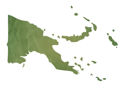 ageing: Old green map of Papa New Guinea in textured green paper, isolated on white background.