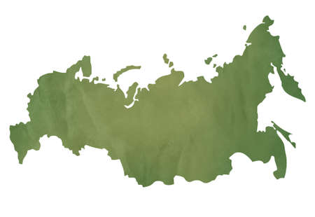 Old green map of Russian Federation in textured green paper, isolated on white background. photo