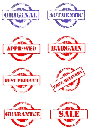 authenticity: Set of business stamps isolated on white background. Stock Photo