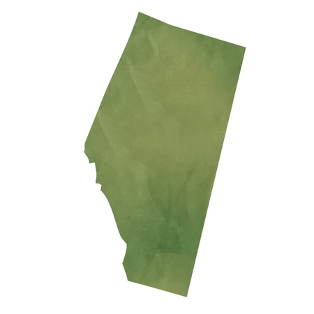 alberta: Alberta province of Canada map in old green paper isolated on white background.