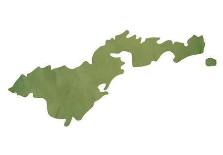 American Samoa map in old green paper isolated on white background. photo