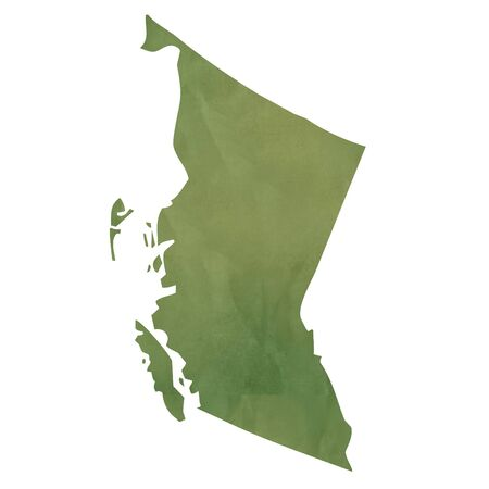 british columbia: British Columbia province of Canada map in old green paper isolated on white background.