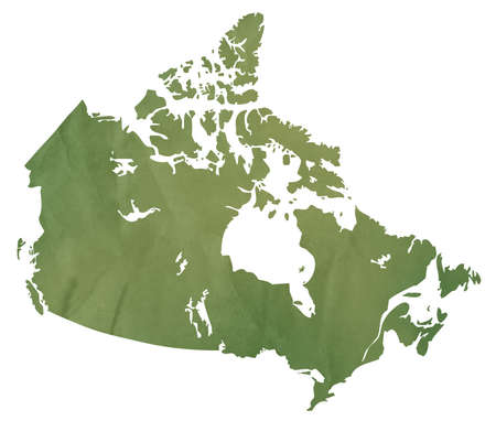 Canadian map in old green paper isolated on white background. photo