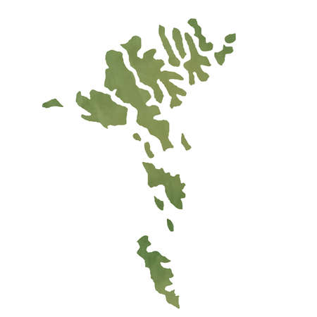 Faroe Islands map in old green paper isolated on white background. photo