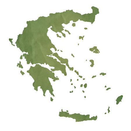 greece map: Greece Islands map in old green paper isolated on white background. Stock Photo
