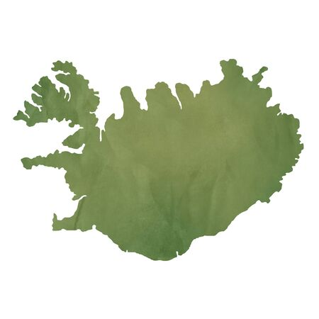 iceland: Iceland map in old green paper isolated on white background.