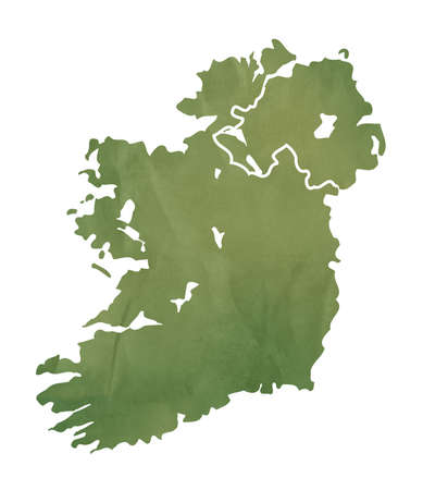 eire: Ireland map in old green paper isolated on white background.