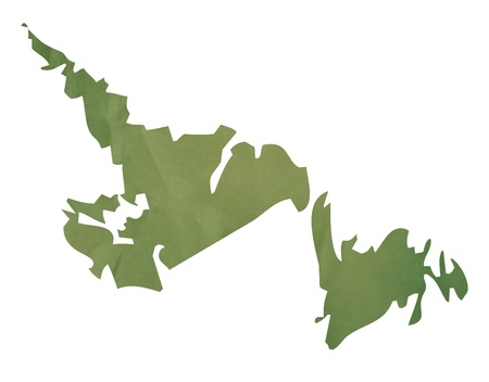 Newfoundland  province of Canada map in old green paper isolated on white background. photo
