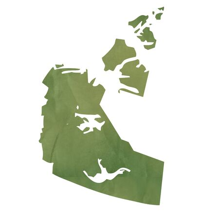 territories: Northwest Territories province of Canada map in old green paper isolated on white background.