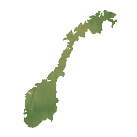 Norway map in old green paper isolated on white background. photo