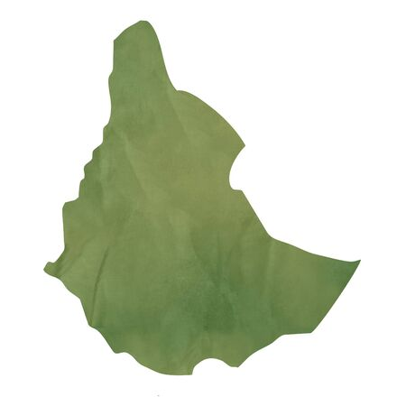 ethiopia: Old green paper map of Ethiopia isolated on white background Stock Photo