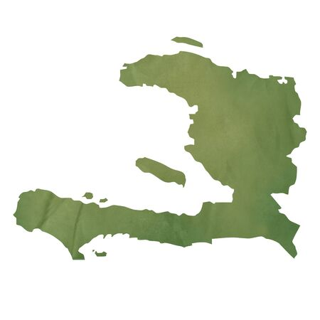Old green paper map of Haiti isolated on white background Stock Photo - 14297889