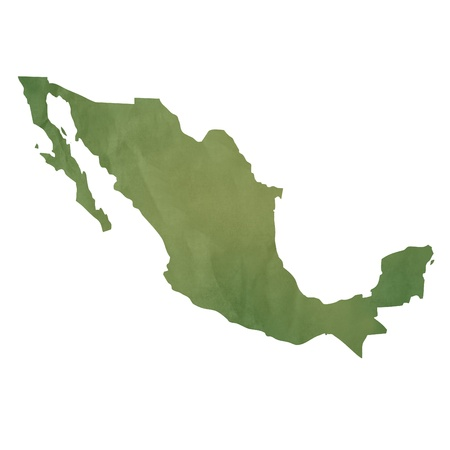 mexico map: Old green paper map of Mexico isolated on white background