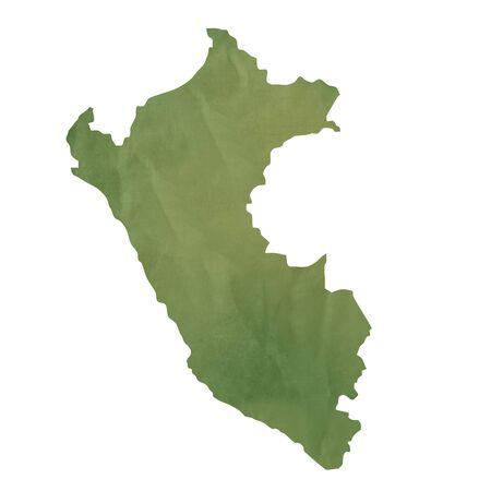 mapa del peru: Antiguo mapa de papel verde del Perú aisladas sobre fondo blanco
