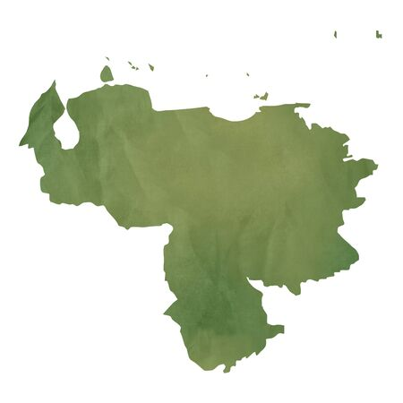 mapa de venezuela: Antiguo mapa de papel verde de Venezuela aisladas sobre fondo blanco