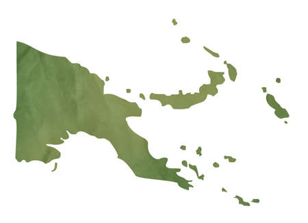 Papa New Guinea map in old green paper isolated on white background. photo