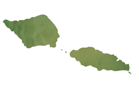 Samoa Islands map in old green paper isolated on white background. photo