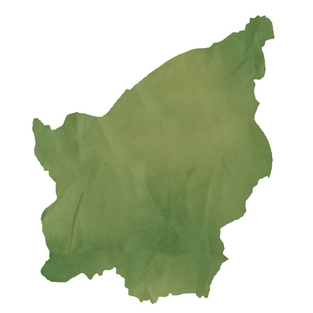 San Marino map in old green paper isolated on white background.