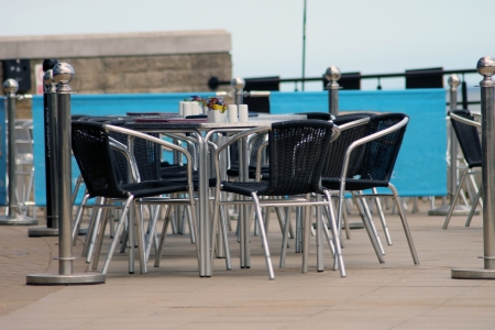 Scenic view of vacant seats in outdoor cafe. Stock Photo - 14298127