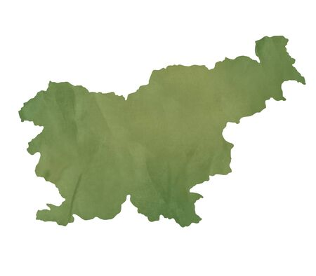 slovenia: Slovenia map in old green paper isolated on white background.