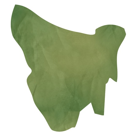 tasmania: Tasmania map in old green paper isolated on white background. Stock Photo