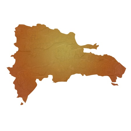 dominican republic: Textured map of Dominican Republic map with brown rock or stone texture, isolated on white background  Stock Photo