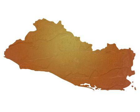mapa de el salvador: Mapa de textura de El Salvador mapa con color marr�n roca o textura de piedra, aislados en fondo blanco