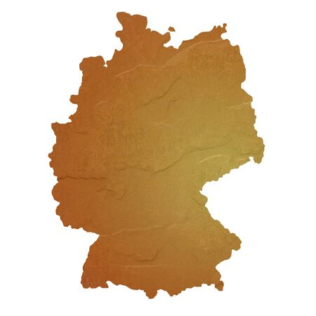 Textured map of Germany map with brown rock or stone texture, isolated on white background  photo