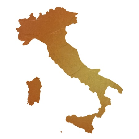 Textured map of Italy map with brown rock or stone texture, isolated on white background
