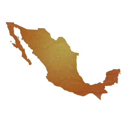 Textured map of Mexico map with brown rock or stone texture, isolated on white background  photo