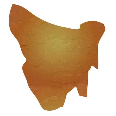 tasmania: Tasmania map with brown rock or stone texture, isolated on white background
