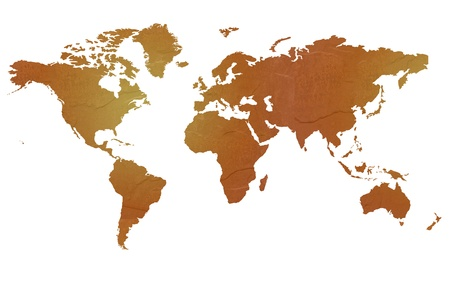 Textured map of the world globe map with brown rock or stone texture, isolated on white background Stock Photo - 14742805