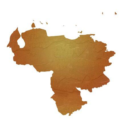 mapa de venezuela: Mapa de textura mapa de Venezuela con el marrón de rock o la textura de piedra, aislados en fondo blanco Foto de archivo