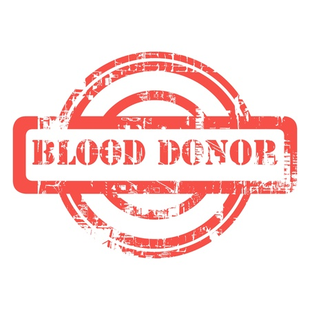 communicatio: Blood donor used red grunge stamp isolated on white background.