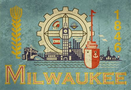 wisconsin flag: Grunge flag of Millwaukee city in the U.S.A