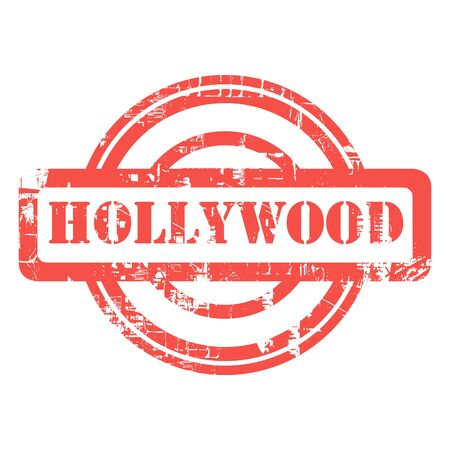 communicatio: Hollywood, Los Anglese, California, used red grunge stamp isolated on white background.