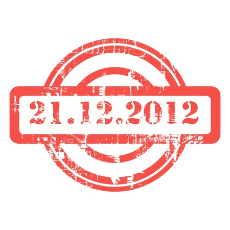 communicatio: Mayan Phrophesy, 21st December 2012, used red grunge stamp isolated on white background.