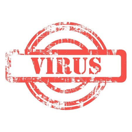 communicatio: Red computer or medical virus stamp isolated on white background.