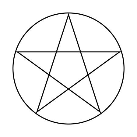 pentacle: Pentacolo Wicca segno isolato su uno sfondo bianco.