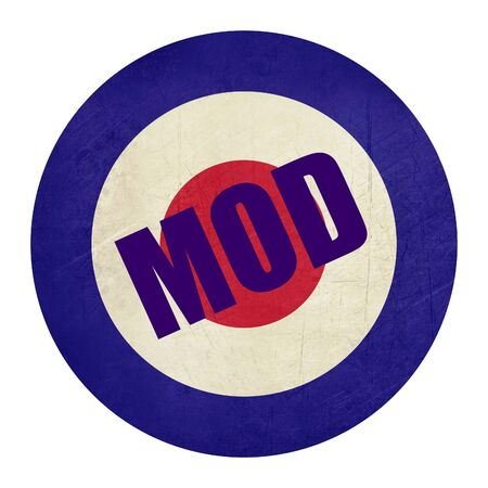 mod: Abstrt grunge British Royal Air Force roundel, also used as symbol of mod music.