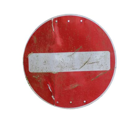 rusting: Old red stop road sign isolated on white background. Stock Photo