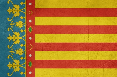 valencia: Grunge illustration of Valencia city flag in Spain, isolated on white background
