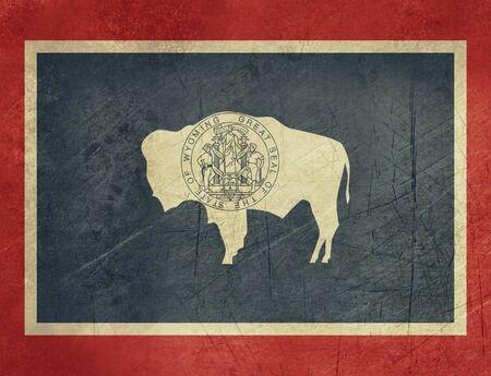 wyoming: Grunge Wyoming state flag of America, isolated on white background