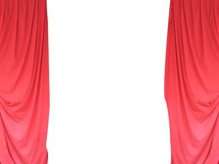 Open red stage theater curtains with white background and copy space  photo