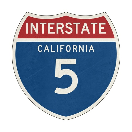 interstate: Grunge American California Interstate Highway number 5 sign or shield; isolated on white background. Stock Photo