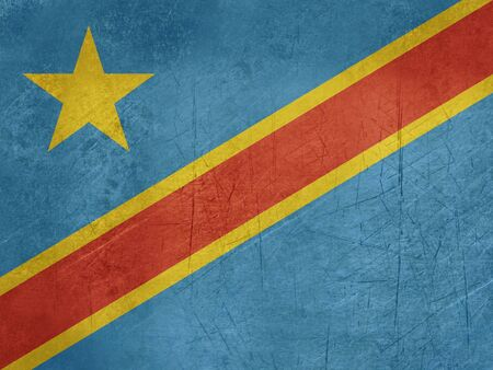 sovereign: Grunge sovereign state flag of country of Democratic Republic of Congo in official colors.